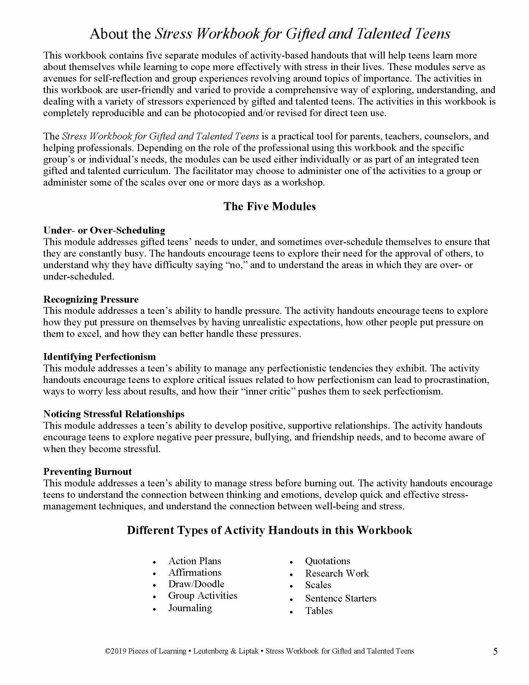 Stress Workbook for G/T Teens